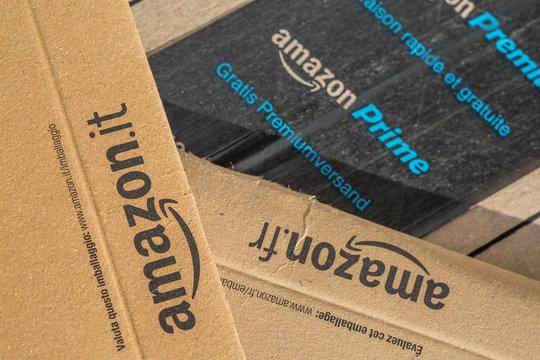 Paris, France - February 08, 2017: Amazon Prime Parcel Packages closeup