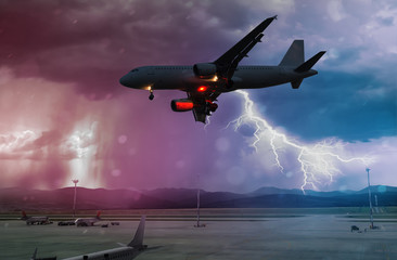 a bad weather and storm with lightning at airport