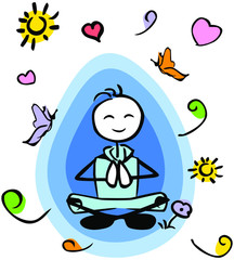 Meditating stick-man leisure wear_aura and elements around him_by jziprian