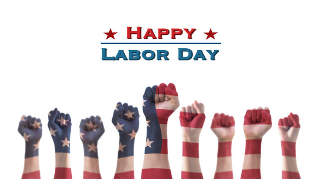 Labor day celebration concept with USA national flag on American people clenched fist hand for United States of America happy national holiday
