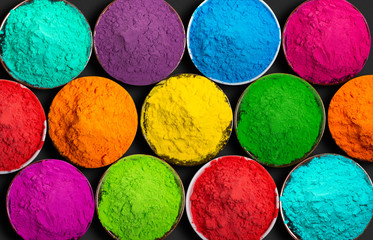 Colorful powder paints for Indian Holi festival.