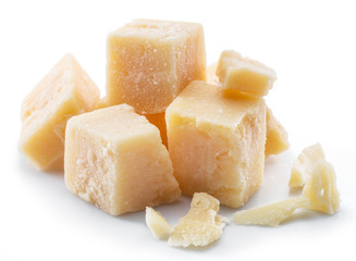 Wall Mural - Parmesan cheese cubes isolated on white background.
