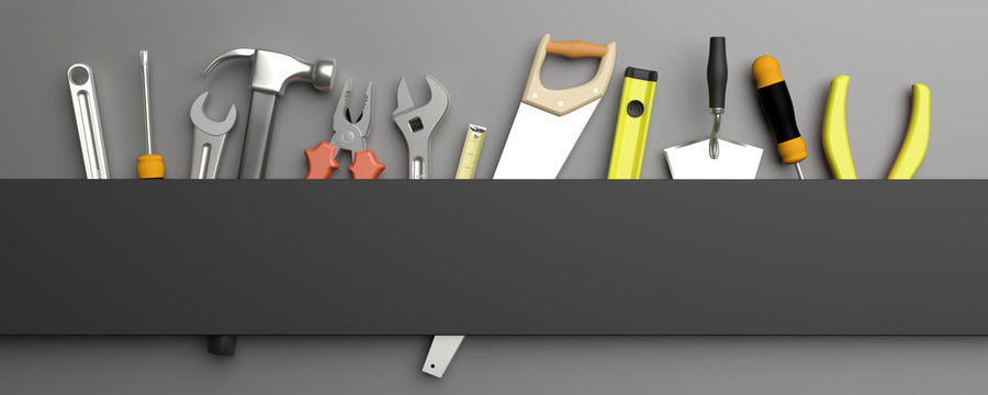 Various Hand  tools. 3d illustration