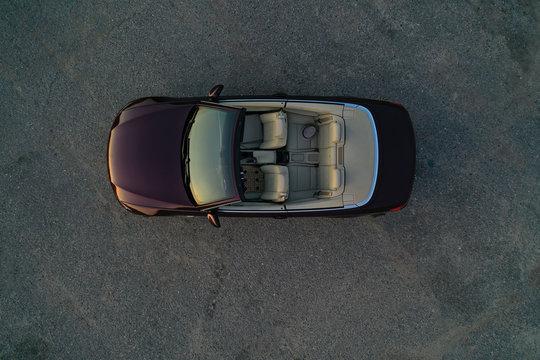 car convertible top view, brown