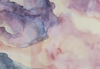 Watercolor sky pink art background