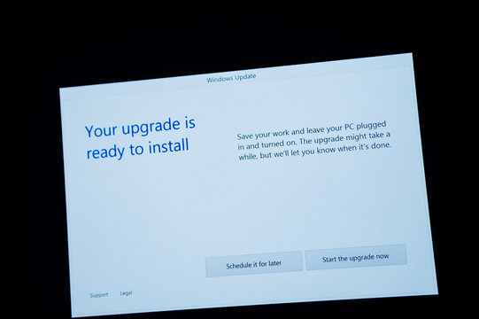 PARIS, FRANCE - JAN 7, 2016: Your upgrade is ready to install - message on computer screen during the upgrade process to Windows 10