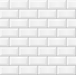 Seamless smooth metro tile texture - realistic white brick background