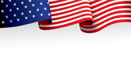 United State of America flag ribbon isolated on white background. Vector illustration