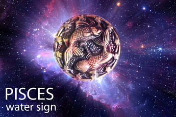 Zodiac sign symbol Pisces over stars and galaxy like astrology concept