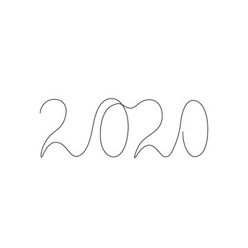 2020 inscription, two thousand and twenty continuous line drawing, calendar design postcard banner, calligraphy year of the rat sign lettering, single line on a white background, vector line art.