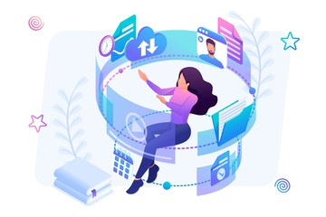 Isometric concept young girl in the process of learning through the Internet, watching educational videos, reading books. Concept for web design