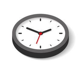 3d Clock icon in flat style, timer on white background. Business watch. Vector design element for you project