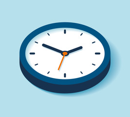 3d Clock icon in flat style, timer on blue background. Business watch. Vector design element for you projectclock-new-newest-02