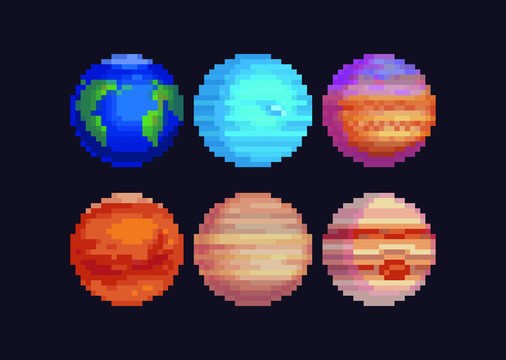 Planets pixel art set. 80s video game sprites. Solar system objects, flat style. Various space planets, Sci-fi, fantastic world vector icons. Cosmic collection for game design.