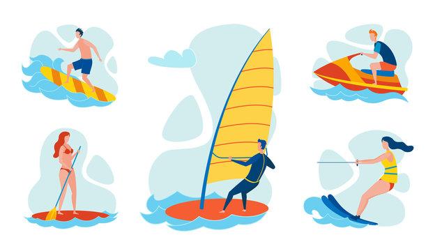 Resort Water Sports and Activities Flat Vector Set
