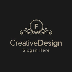 Letter F Luxury Ornate Frame Creative Business Logo