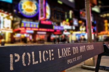 Acrylic Prints New York Police line crime scene in New York City with blurry background