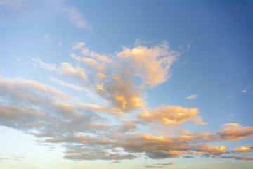 Background with magical of the sky and clouds at dawn, sunrise