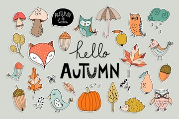 Hand drawn stickers collection with autumnal design