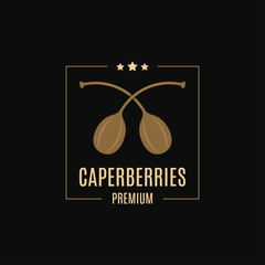 Caperberries logo design. Caper label on black