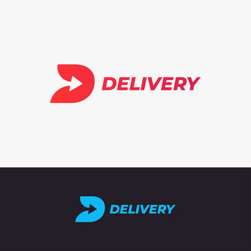 Delivery logo design. Letter D with arrow