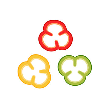 Slices of bell peppers collection