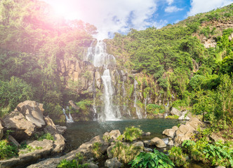 The basins of the Aigrettes and Cormoran waterfalls, La Reunion