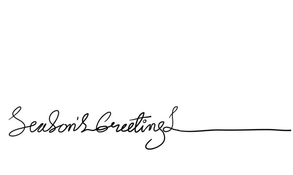 seasons greetings brush calligraphy handdrawn doodle style vector