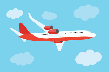 Flying airplane express delivery shipping  concept. Vector Illustration Fototapete