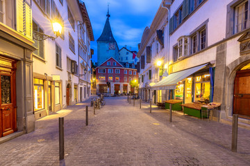 Zurich. Old city street in night illumination.