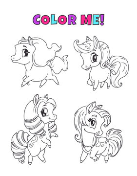 Little cute cartoon pony set. Outline horses icons for coloring book page.