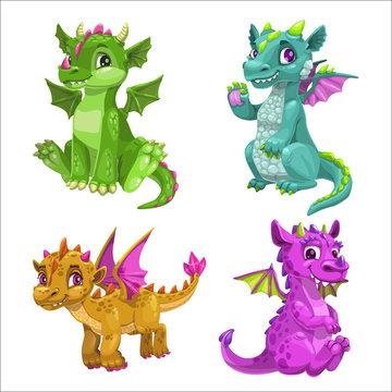 Little cute cartoon baby dragons set. Vector.