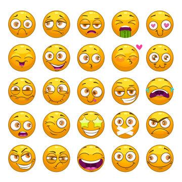 Funny cartoon yellow faces set. Emoji face collection.