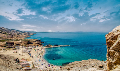 Charrana Beach In Nador city - Morocco - melilla. Perfect beach view, Summer holiday and vacation design, Mediterranean beach, Beautiful mountains and beautiful sand, Tranquil scenery, relaxing beach. Wall mural