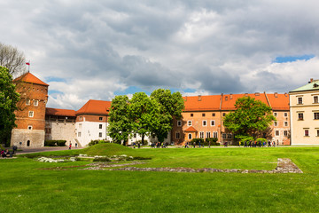 Autocollant pour porte Cracovie Grass lawn in Wawel castle, panoramic view