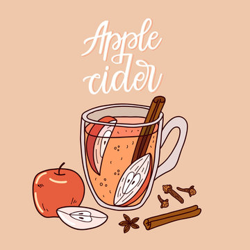 Cup of apple cidre with mulling spices. Illustration traditional hot drink at Christmas time. Autumn and winter holidays. Hand-drawn illustration.