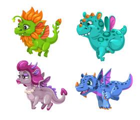 Little cute cartoon dragons set. Colotful fantasy monsters.