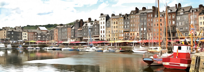 Drawing of Honfleur harbour in Normandy, France. Panorama. Fotomurales