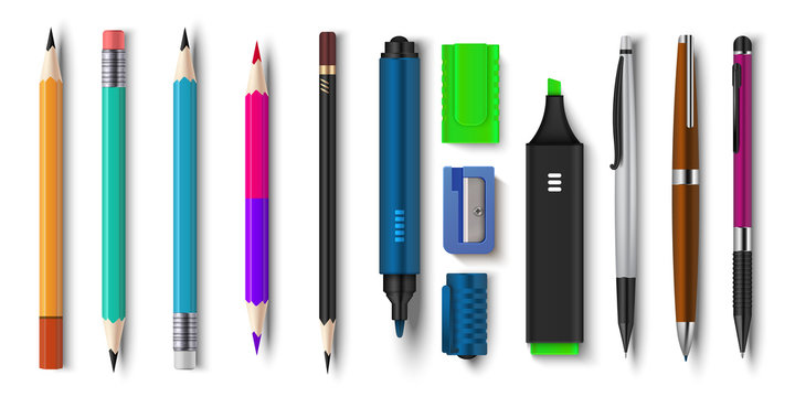 Realistic pen and pencils. 3D school and office supplies, brush marker and sharpened pencils. Vector illustration colored plastic workspace tools set