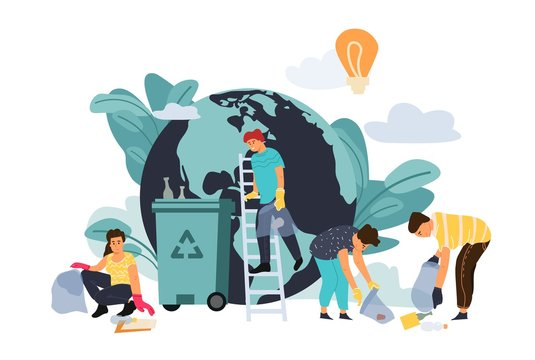 Recycling concept. Cartoon flat characters protect environment, sorting plastic waste and disposal products. Vector design ecology banner people clean nature from trash