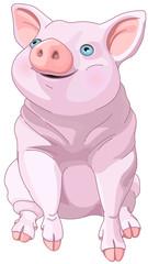 Foto op Canvas Sprookjeswereld Happy Pig