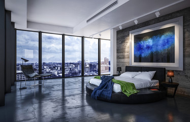 Luxury bedroom interior with circular bed
