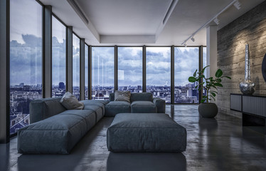 Luxury penthouse living room in evening light