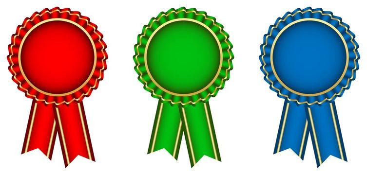 Ribbon in rot, grün und blau mit goldener Kontur als Vektor auf einem weißem isolierten Hintergrund.
