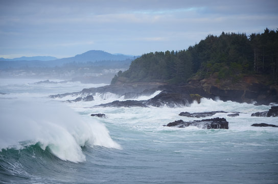 Crashing Waves on the Oregon Coast