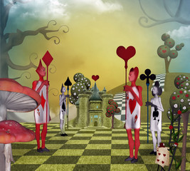 Landscape inspired by Alice in Wonderland with the card guards of the Queen of Hearts