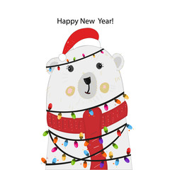 Polar bear with colorful light bulb. Happy new year greeting card