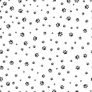 Trace black doodle paw prints seamless pattern background