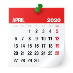 April 2020 - Calendar. Isolated on White Background. 3D Illustration