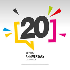 20 Years Anniversary colorful white modern number logo icon banner